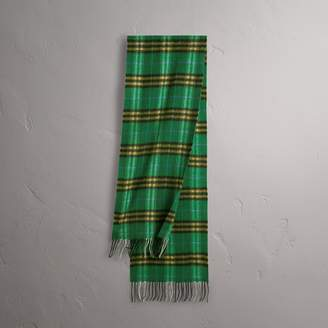 Burberry Check Cashmere Scarf, Green