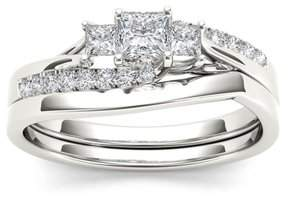 Imperial Star 1/2Ct TDW Diamond S925 Sterling Silver Three Stone Engagement Ring Set (I-J, I2)