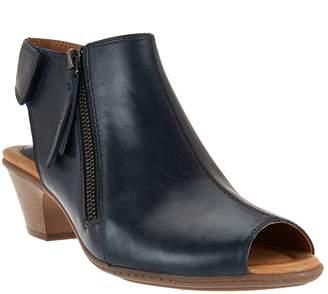 Earth Leather Peep-toe Booties - Kristy