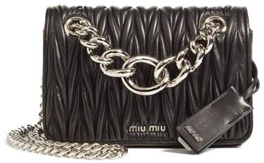 Miu MiuMiu Miu Small Matelasse Leather Shoulder Bag - Black