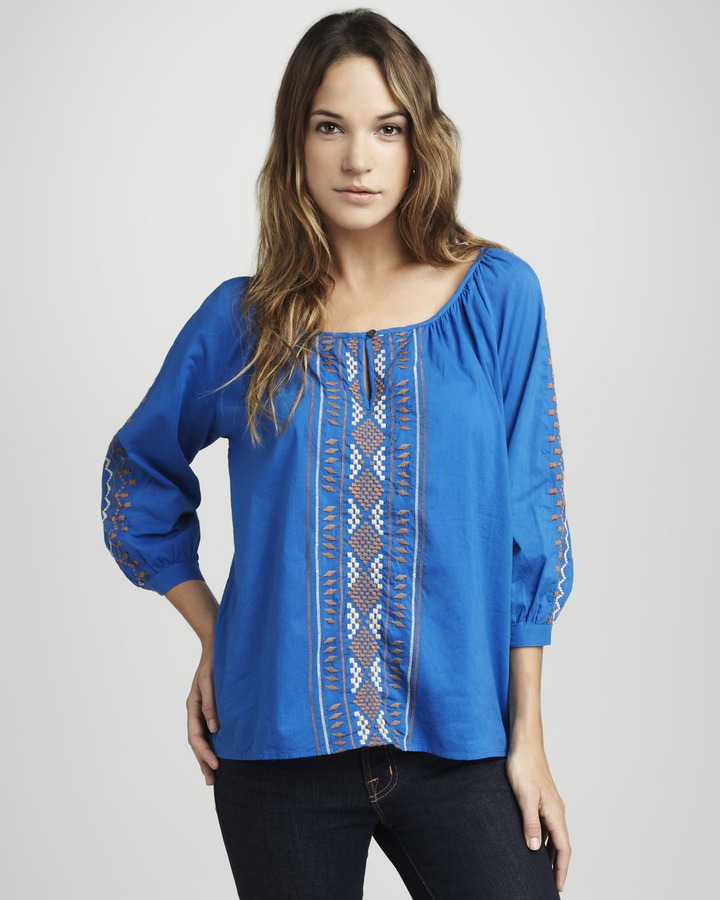 Velvet by Graham & Spencer Aztec Embroidered Top