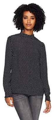 Three Dots Women's DC2684 dot Printed Crepe Ruffle Mock Neck top