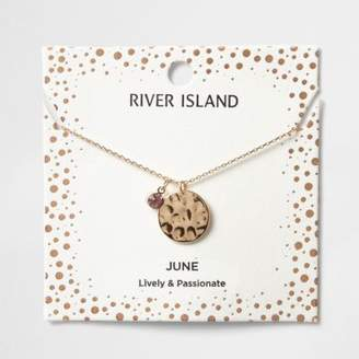 River Island Womens Light purple June birthstone necklace