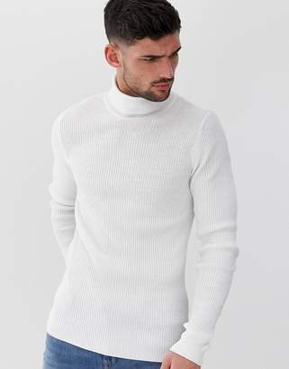 242b6449c Asos Design DESIGN muscle fit ribbed roll neck jumper in white