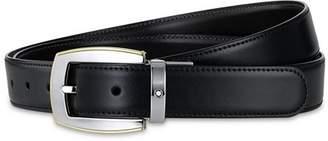 Montblanc Shiny Palladium and Gold-Coated Reversible Leather Belt