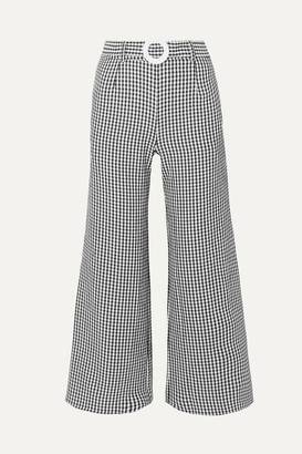 Solid & Striped Belted Cropped Gingham Seersucker Wide-leg Pants - Black