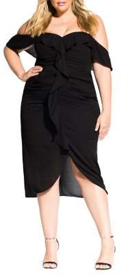 City Chic Plus Va Va Voom Off-The-Shoulder Dress