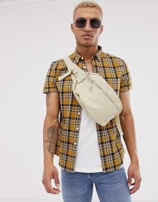 Asos Design DESIGN slim fit check shirt in mustard