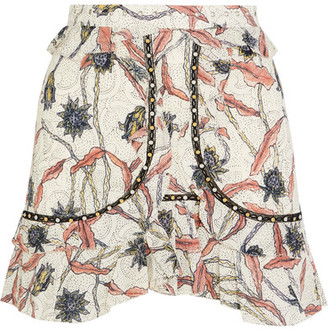Isabel Marant - Ugi Embellished Ruffled Printed Cotton Mini Skirt - Ecru $515 thestylecure.com