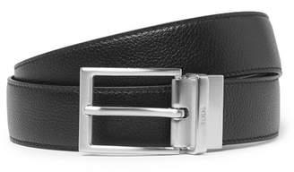 Tod's 3cm Black and Brown Reversible Full-Grain Leather Belt - Black