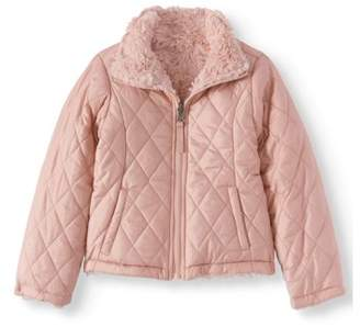 BHIP Reversible Quilted Zip Front 2-in-1 Jacket with Fur Lining (Little Girls)