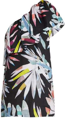 MARA HOFFMAN Xylophone Black-print one-shoulder linen dress $373 thestylecure.com