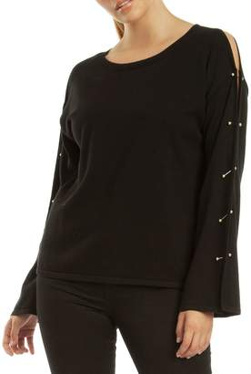 Dex Black Bar-Sleeve Sweater Top