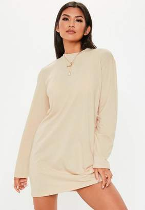 Missguided Nude Long Sleeve T Shirt Dress