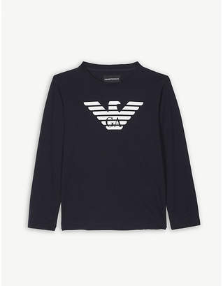 Armani Junior Logo long-sleeved cotton top 4-16 years