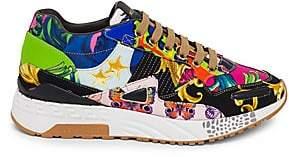 Versace Men's Barocco Print Mix Achilles Sneakers