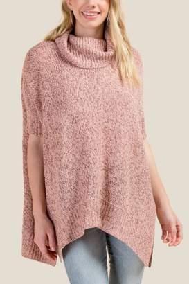 francesca's Tammy Cowl Poncho - Pink