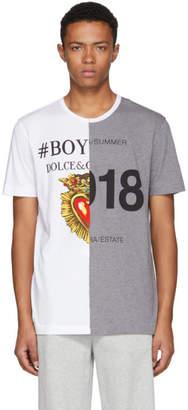 Dolce & Gabbana White and Grey Logo T-Shirt