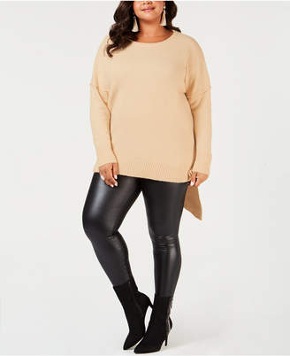 NY Collection Plus Size Asymmetrical-Hem Sweater