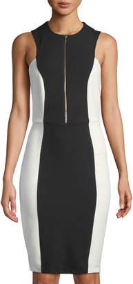 Neiman Marcus Zip-Front Colorblocked Sheath Dress