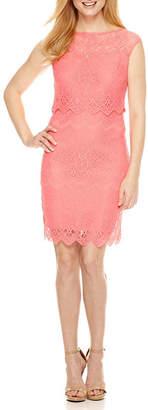Melrose Short Sleeve Lace Sheath Dress-Petites