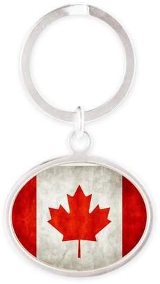 Royal Lion Oval Keychain Canadian Canada Flag Grunge