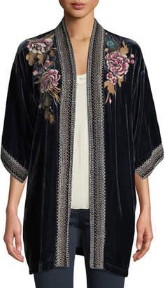 Johnny Was Quito Floral-Embroidered Velvet Kimono w/ Border Stitching