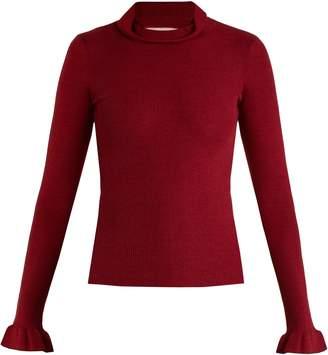 RED Valentino Ruffled-cuff cashmere and silk-blend top