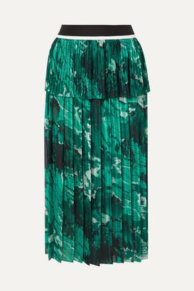Victoria Beckham Victoria, Tiered Printed Plissé-crepe Midi Skirt - Forest green