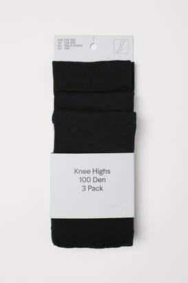 H&M 3-pack Knee Socks 100 Denier - Black