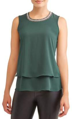 Lifestyle Attitude Women's Sleeveless Jewel Neck Top