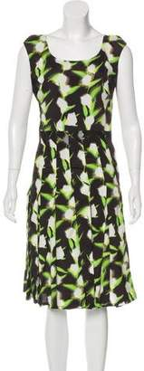 Zac Posen Floral Print Sleeveless Midi Dress