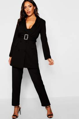 boohoo Diamante Belted Blazer Dress