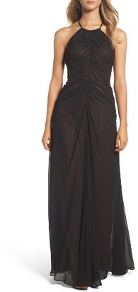 Women's Vera Wang Shirred Chiffon Gown $368 thestylecure.com