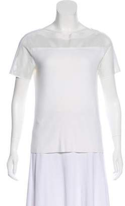 Tory Burch Leather-Accented Knit Top