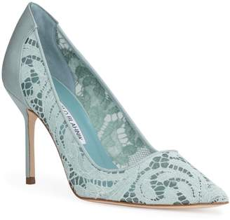 5d6c5228b0b Manolo Blahnik BBLA 90 lace green pumps