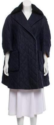 Fendi Mink-Trimmed Quilted Coat