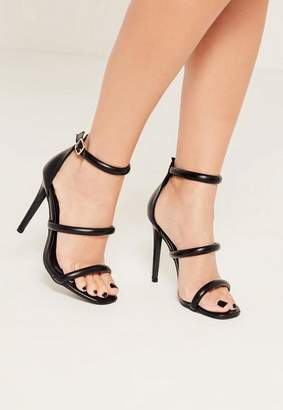 Missguided Black Rounded Three Strap Barely There Heels