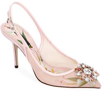 Dolce & Gabbana Rosa Lilium Slingback Pumps