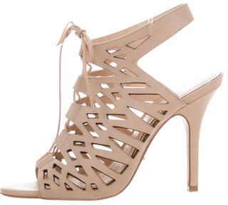 Pour La Victoire Leather Cage Slingback Sandals $95 thestylecure.com