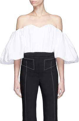 Ellery 'Bachelorette' balloon sleeve smocked off-shoulder corset top