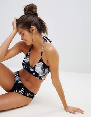 Vero Moda Tropical Print Wrap Halter Neck Bikini