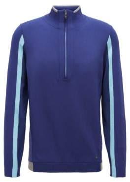 BOSS Hugo Color-block sweater in stretch fabric zippered neck L Dark Blue