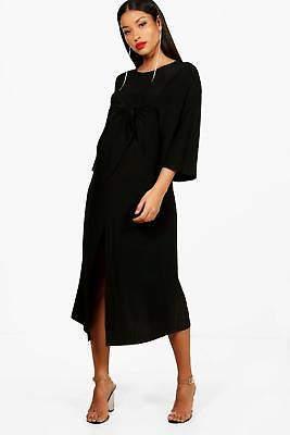 Maternity Emily Tie Front Midi Dress in Black größe 34