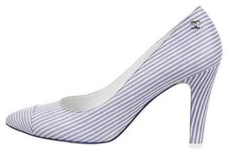 Chanel Striped Pointed-Toe Pumps