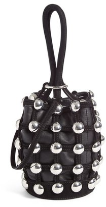 Alexander Wang Mini Roxy Studded Suede Bucket Bag - Black $595 thestylecure.com