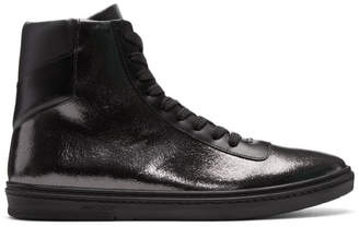 Jimmy Choo Black Crackled Metallic Bruno High-Top Sneakers