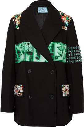 Prada Embellished Printed Cotton-twill Blazer - Black
