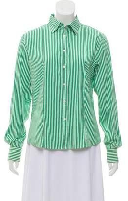 Loro Piana Stripe-Accented Button-Up Top