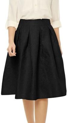 Unique Bargains Women High Waist Floral Jacquard Flared A Line Skirt